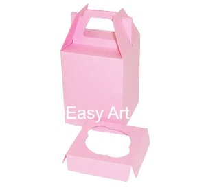 Caixa Maleta para 1 Mini Cupcake - Rosa Claro