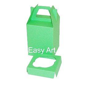 Caixa Maleta para 1 Mini Cupcake - Verde Pistache