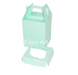 Caixa Maleta para 1 Mini Cupcake - Verde Claro