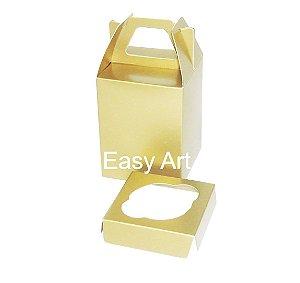 Caixa Maleta para 1 Mini Cupcake - Dourado Brilhante