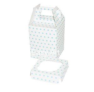 Caixa Maleta para 1 Mini Cupcake - Branco com Poás Azuis