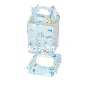 Caixa Maleta para 1 Mini Cupcake - Estampado Bebê Azul