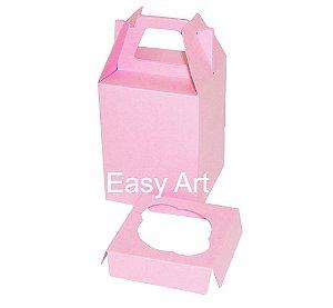 Caixa Maleta para 1 Cupcake - Rosa Claro