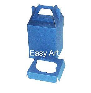 Caixa Maleta para 1 Cupcakes - Azul Marinho