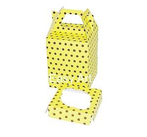 Caixa Maleta para 1 Cupcake - Amarelo com Poás Marrom