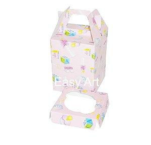 Caixa Maleta para 1 Cupcake - Estampado Bebê Rosa