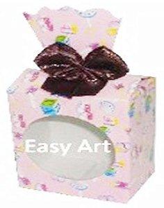 Caixinha para Presentes com Visor - Estampado Bebê Rosa