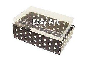 Caixas para 06 Mini Doces - Preto com Poás Brancas