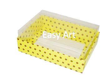 Caixas para 12 Mini Doces / Amarelo com Poás Marrom