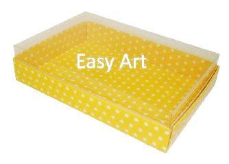 Caixas para 24 Mini Doces / Amarelo com Poás Brancas