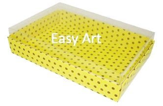 Caixas para 24 Mini Doces / Amarelo com Poás Marrom