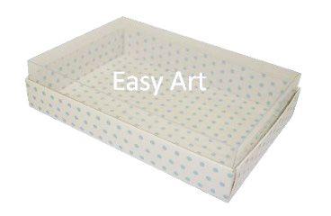 Caixas para 24 Mini Doces - Branco com Poás Azuis
