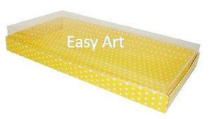 Caixas para 50 Mini Doces / Amarelo com Poás Brancas