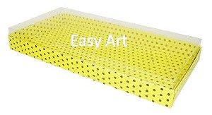 Caixas para 50 Mini Doces - Amarelo com Poás Marrom