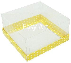 Caixas para Coração Lapidado / Mini Bolo - Amarelo com Poás Brancas