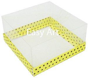 Caixas para Coração Lapidado / Mini Bolo - Amarelo com Poás Marrom