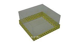 Caixas para Presentes / Amarelo com Poás Marrom - 12x12x6