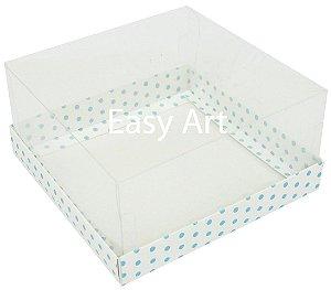 Caixas para Coração Lapidado / Mini Bolo - Branco com Poás Azuis