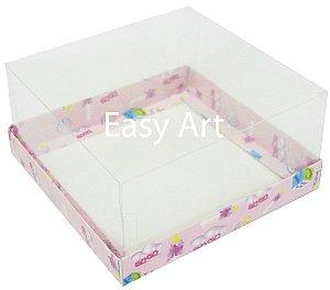 Caixas para Coração Lapidado / Mini Bolo - Estampado Bebê Rosa