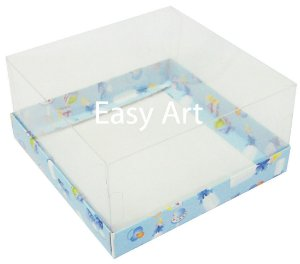 Caixas para Coração Lapidado / Mini Bolo - Estampado Bebê Azul