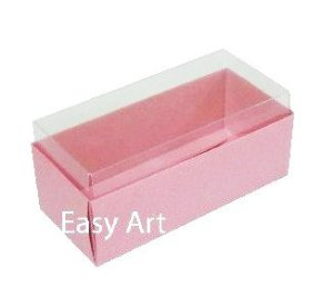 Caixas para 4 Macarons ou 2 Brigadeiros 10x4,5x4,5 - Rosa Claro
