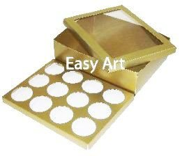 Caixas para Transporte de 12 Cupcakes - Dourado Brilhante