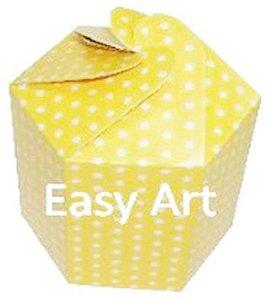 Caixa Flor para Presentes - Amarelo com Poás Brancas