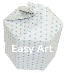 Caixa Flor para Presentes - Branco com Poás Azuis