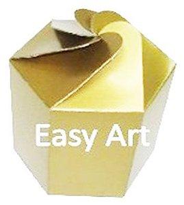 Caixa Flor para Presentes - Dourado Brilhante