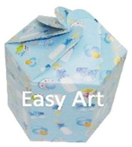 Caixa Flor para Presentes - Estampado Bebê Azul