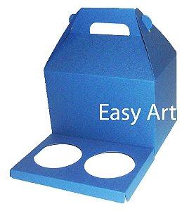 Caixa Maleta para 2 Cupcakes - Azul Marinho