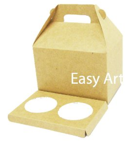 Caixa Maleta para 2 Cupcakes -  Kraft