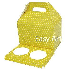 Caixa Maleta para 2 Cupcakes - Amarelo com Poás Brancas