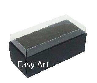 Caixas para 4 Macarons ou 2 Brigadeiros 10x4,5x4,5 - Preto