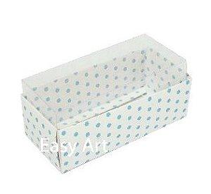 Caixas para 4 Macarons ou 2 Brigadeiros - Branco com Poás Azuis