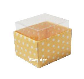 Caixas para Dois Macarons - Amarelo com Poás Brancas