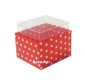 Caixas para Dois Macarons - Vermelho com Poás Brancas