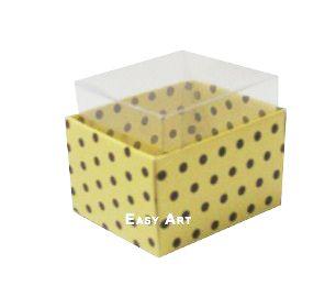 Caixas para Dois Macarons - Amarelo com Poás Marrom