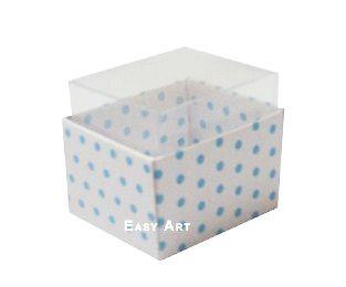 Caixas para Dois Macarons - Branco com Poás Azuis