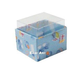 Caixas para Dois Macarons - Estampado Bebê Azul