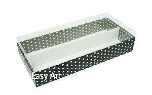 Caixas para Macarons - Preto com Poás Brancas