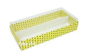 Caixas para Macarons - Amarelo com Poás Marrom