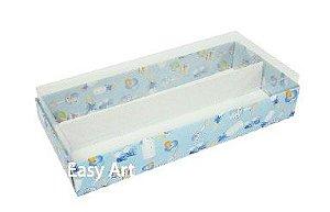 Caixas para Macarons - Estampado Bebê Azul