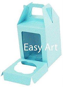 Caixa Maleta para 1 Mini Cupcake - Azul Tiffany