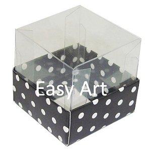 Caixa para Mini Bolos - Preto com Poás Brancas