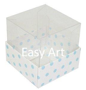 Caixa para Mini Bolos - Branco com Poás Azuis