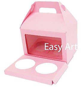 Caixa Maleta para 2 Cupcakes - Rosa Claro