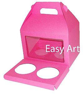 Caixa Maleta para 2 Cupcakes - Pink