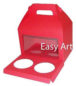 Caixa Maleta para 2 Cupcakes - Vermelho