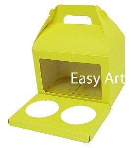 Caixa Maleta para 2 Cupcakes - Amarelo